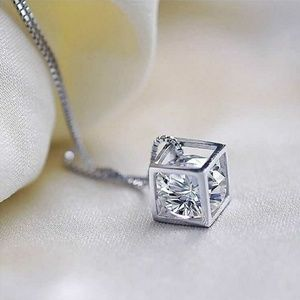 Jewelry - Exquisite Crystal Necklace with Cube Pendant